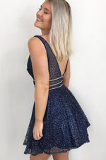 Sparkle Fit and Flare Navy Blue Homecoming Dress
