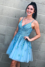 Lace-Up Sky Blue Short Homecoming Dress with Lace Appliques