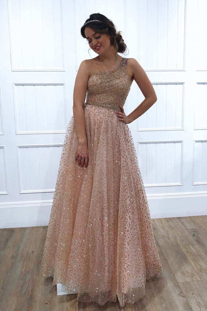 Glitter One Shoulder Princess Champagne Long Prom Dress