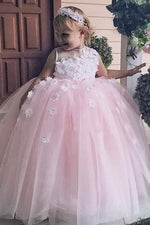 Cute Ball Gown Lace Appliques Pink Flower Girl Dress