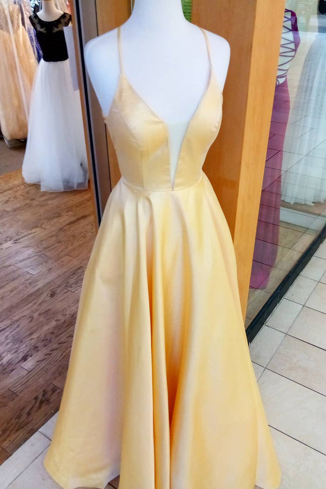 Criss Cross A-Line Yellow Long Prom Dress