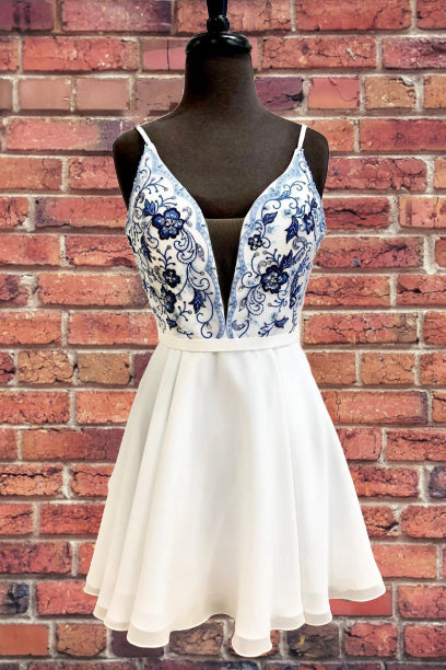 Straps Embroidery Homecoming Dress with Illusion V Inset