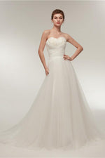 Princess Long Sweetheart A-line Ivory Wedding Dress with Feather