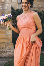 Long A-line Peach Bridesmaid Dress with Lace Appliques
