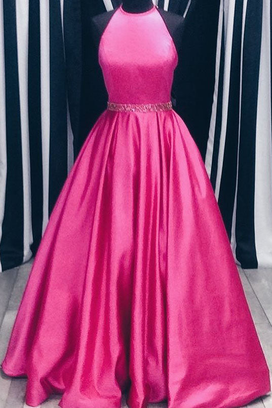Elegant A-line Hot Pink Long Prom Dress with Beading