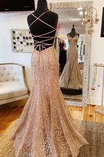 Mermaid V-Neck Rose Gold Long Prom Dress with Criss Cross Back