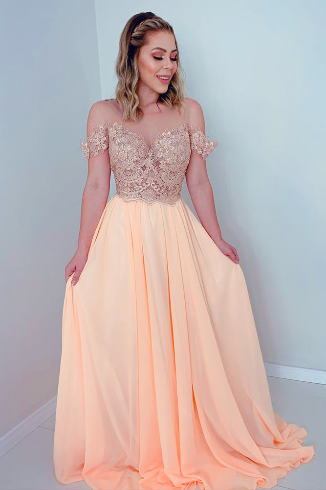 Elegant Off the Shoulder Yellow Prom Dress with Open Back
