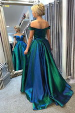 Gorgeous Off the Shoulder Blue and Green Long Prom Dress