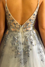 Elegant Straps White and Blue Long Prom Dress with Floral Embroidery