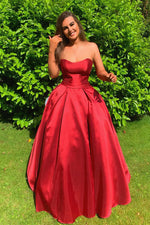 Simple Empire Strapless Red Satin Long Prom Dress