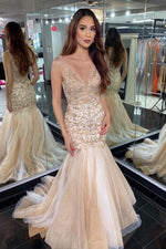 Gorgeous V Neck Mermaid Beaded Champagne Long Prom Dress with Train