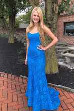 Elegant Straps Mermaid Blue Lace Long Prom Dress with Criss Cross Back