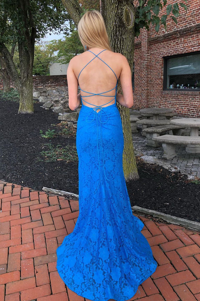 Elegant Spaghetti Straps Open Back Mermaid Blue Long Prom Dress
