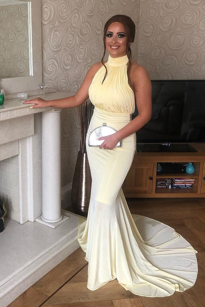 Elegant High Neck Mermaid Yellow Long Prom Dress with Open Back