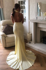 Elegant High Neck Open Back Mermaid Yellow Long Prom Dress