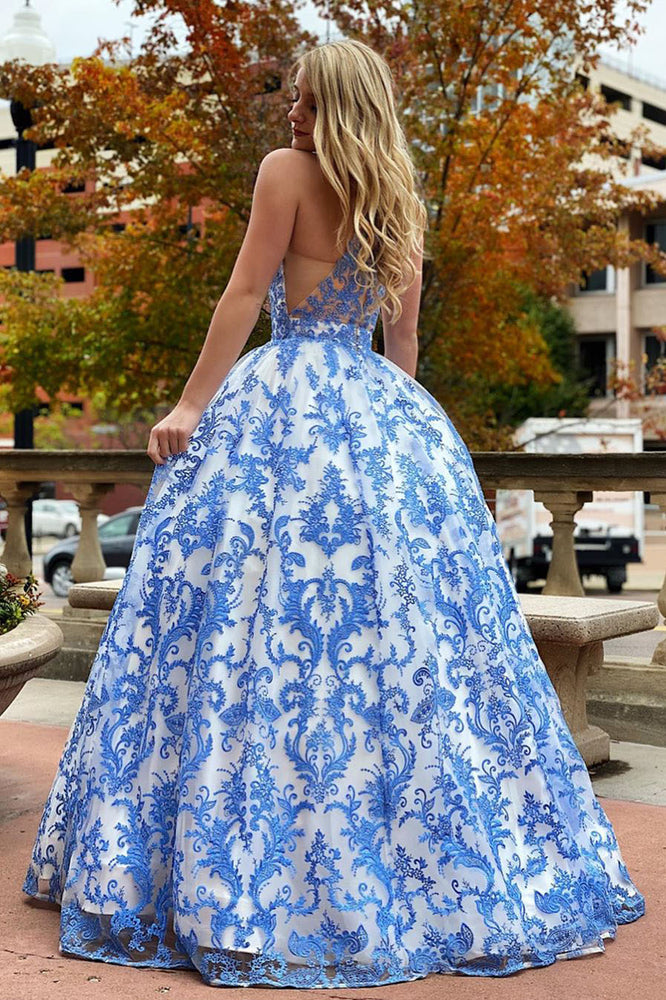 Elegant White and Blue Floral Embroidered Long Prom Gown with Beading