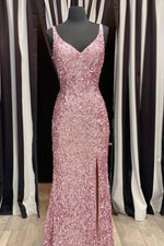 Gorgeous Mermaid V-Neck Straps Pearl Pink Sequin Long Prom Dress with Slit