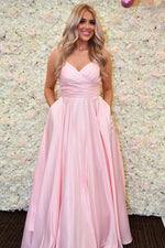 Simple V Neck Straps Pink Long Prom Dress with Pockets