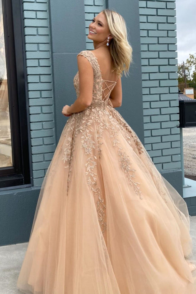 Elegant Lace-up Back Beaded Long Champagne Prom Dress with Appliques