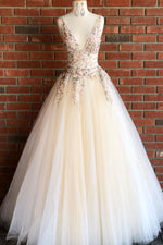 Elegant V Neck Ivory Long Prom Dress with Floral Embroidery