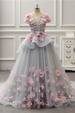 Elegant Lace-up Back Grey Tulle Long Prom Dress with Floral Appliques