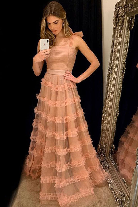 Elegant Straps Peach Long Prom Dress with Cascading Ruffles