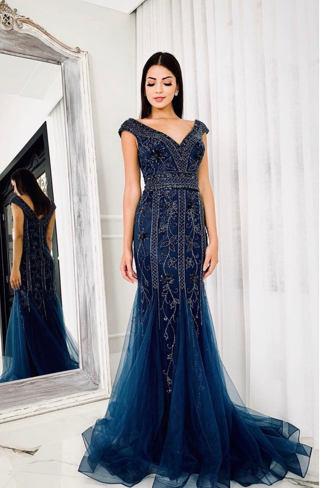 V Neck Navy Blue Long Prom Dress with Beading and Sequins
