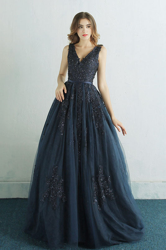 Elegant A Line Navy Blue Long Prom Dress with Lace Appliques