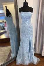 Elegant Strapless Mermaid Light Blue Long Lace Prom Dress with Slit
