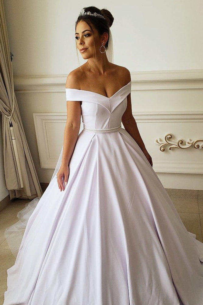 Off the Shoulder White Beaded Long Wedding Dress