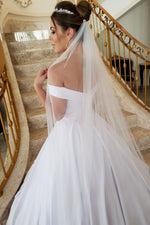 Princess A-line Off the Shoulder White Wedding Dress with Beads
