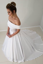 Princess Long A-line Off Shoulder White Wedding Dress with Bow