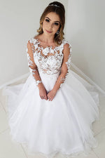 Elegant Long Sleeves White Lace and Tulle Wedding Dress