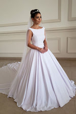 Simple Boat Neckline Beaded White Satin Long Wedding Dress