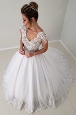 Elegant V Neck White Long Wedding Dress with Cap Sleeves