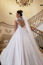 Princess A-line Cap Sleeves White Wedding Dress with Lace