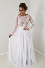 Elegant Long Sleeves White Wedding Dress with Lace Appliques
