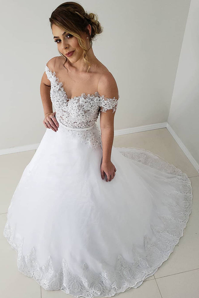 Elegant Off the Shoulder White Lace Long Wedding Dress with Beading