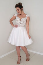 Elegant V Neck White Lace Short Wedding Dress