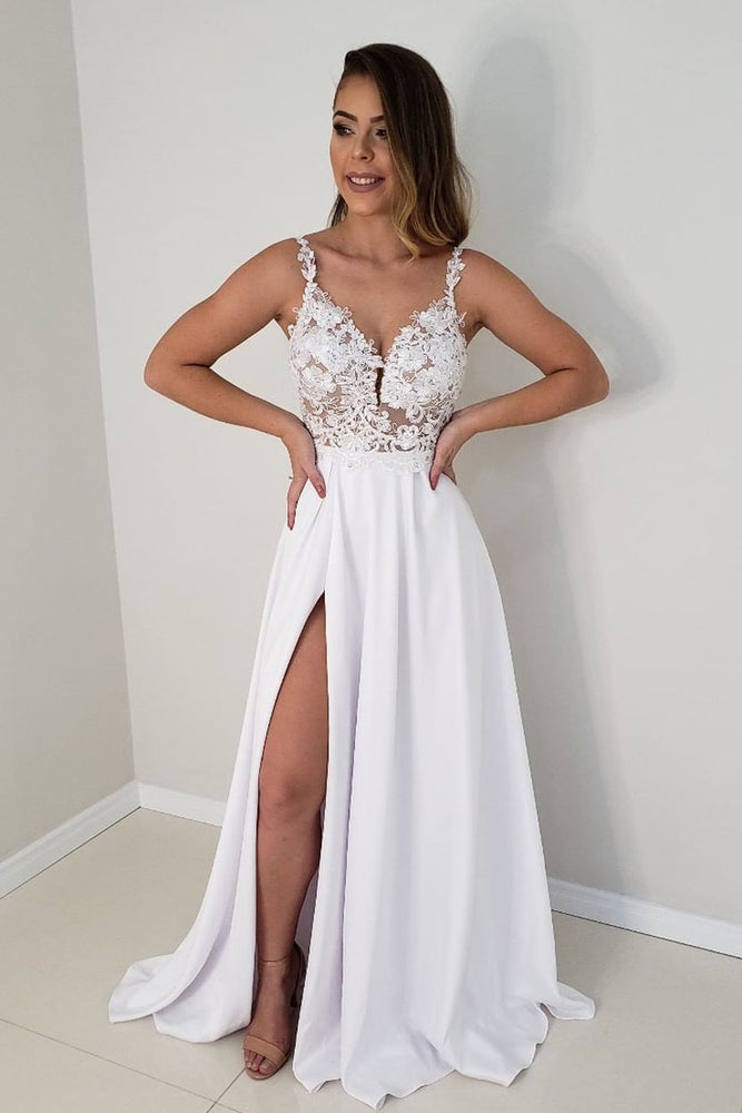 Elegant Straps White Lace and Satin Long Wedding Dress with Slit