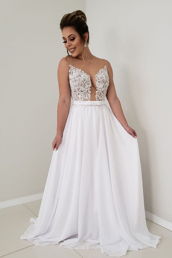 Simple Illusion White Lace and Chiffon Long Wedding Dress