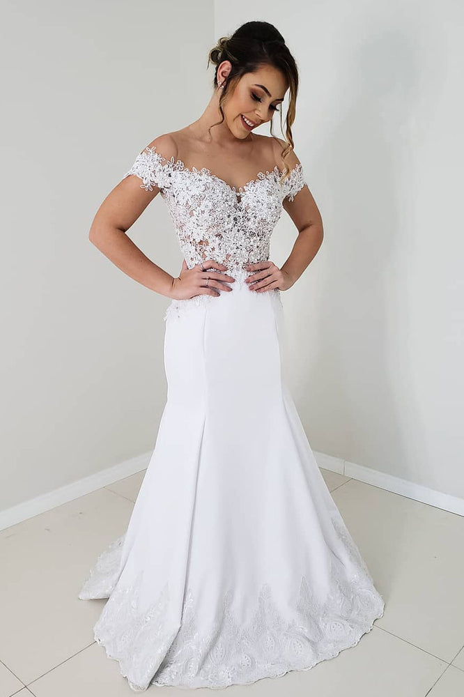Elegant Off the Shoulder Mermaid White Lace Wedding Dress