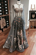 Illusion A-Line Long Sleeves Grey Tulle Long Prom Dress with Embroidery
