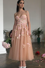 Elegant A-Line Ankle Length Sweetheart Peach Floral Prom Dress