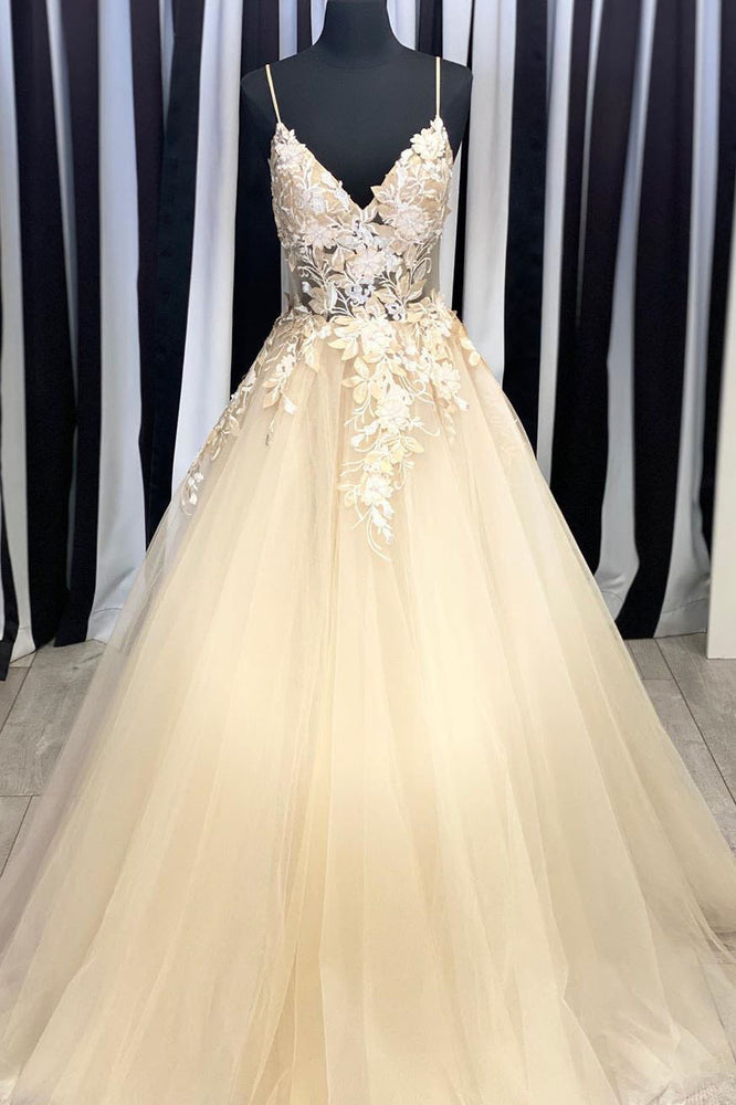 Elegant V Neck Straps Champagne Long Prom Dress with Lace Appliques