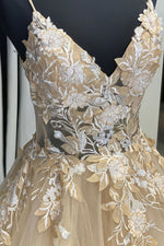 Elegant V Neck Lace Appliques Champagne Long Prom Dress