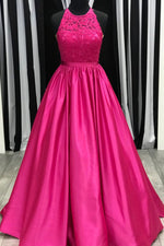 Elegant A-Line Fuchsia Lace and Satin Long Prom Dress with Beading