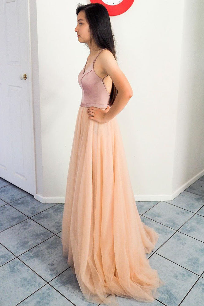 Elegant A-line Straps Peach and Pink Long Prom Dress with Criss Cross Back