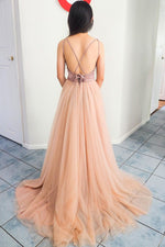 Elegant A-line Straps Criss Cross Back Peach and Pink Long Prom Dress