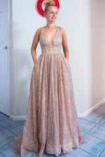 Sparkly A-Line Pink Tulle Long Prom Dress with Plunging Neckline and Pockets